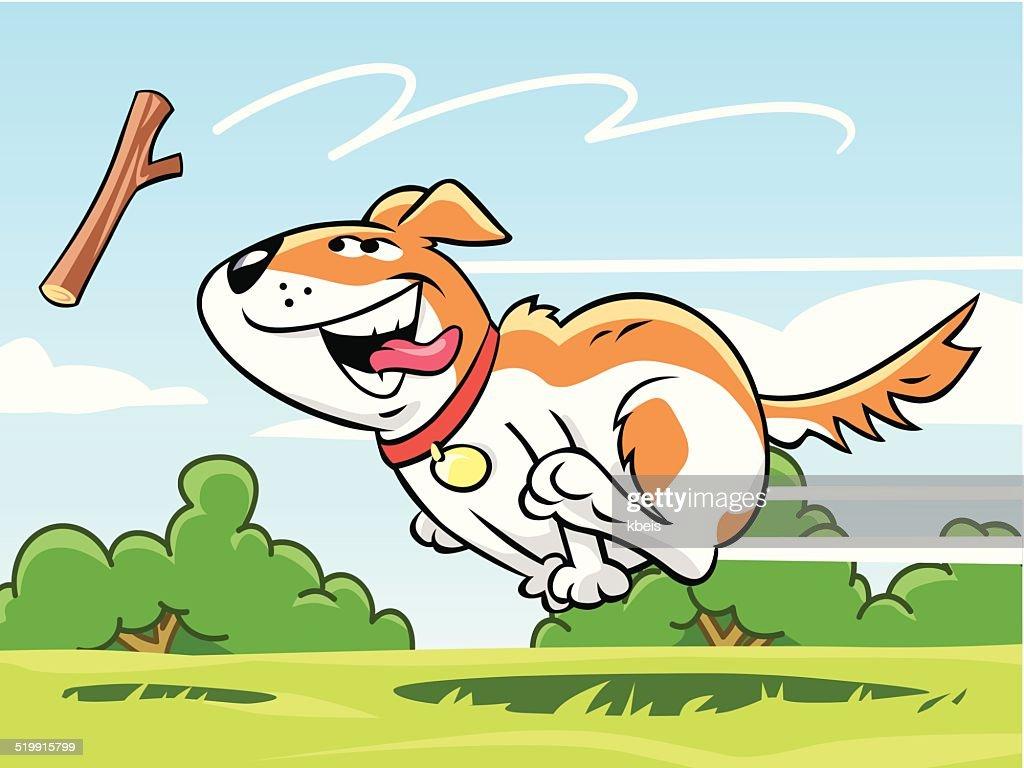 犬の取得スティック : ストックイラストレーション