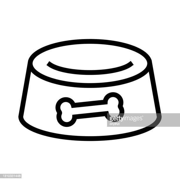ドッグフードボウルラインアイコン、アウトラインシンボルベクトルイラスト - 食器点のイラスト素材/クリップアート素材/マンガ素材/アイコン素材