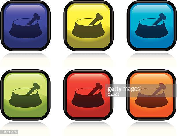 dog food icon - dog bowl stock illustrations, clip art, cartoons, & icons