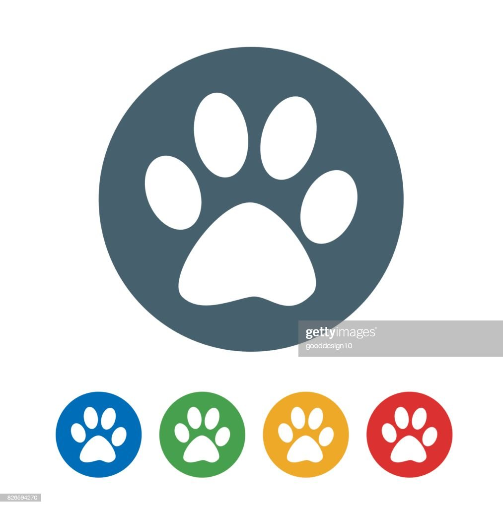 Dog foot print flat icon isolated on white background. vector illustration icon