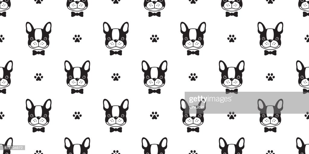 Dog French Bulldog Bow Tie Paw Vector Seamless Pattern Wallpaper Background Art