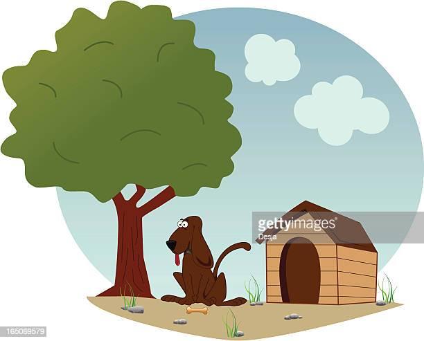 Hund abhängen von Doghouse