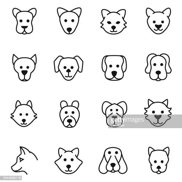 dog head icon set - young animal stock illustrations, clip art, cartoons, & icons