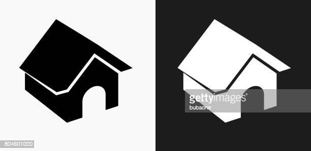 ilustraciones, imágenes clip art, dibujos animados e iconos de stock de icono de la casa de perro en blanco y negro vector fondos - caseta de perro