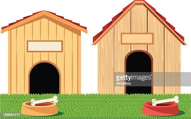 ilustraciones, imágenes clip art, dibujos animados e iconos de stock de casas de perro - caseta de perro
