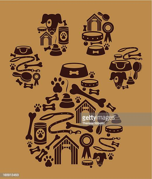 dog icon montage - dog food stock illustrations, clip art, cartoons, & icons