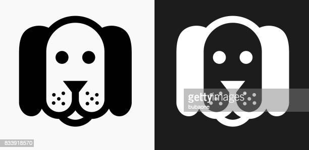 Dog Icon on Black and White Vector Backgrounds
