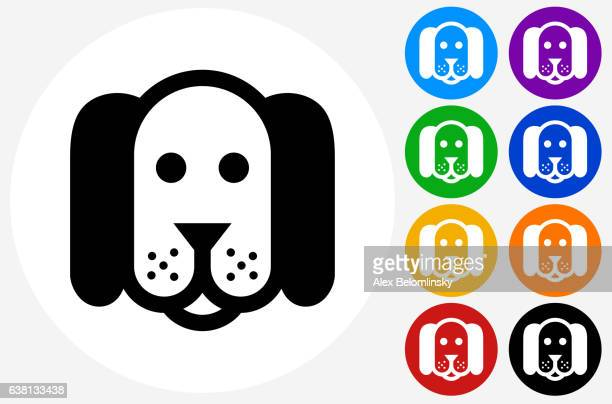 Dog Icon on Flat Color Circle Buttons
