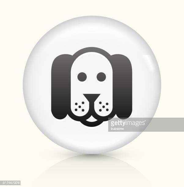 Dog icon on white round vector button