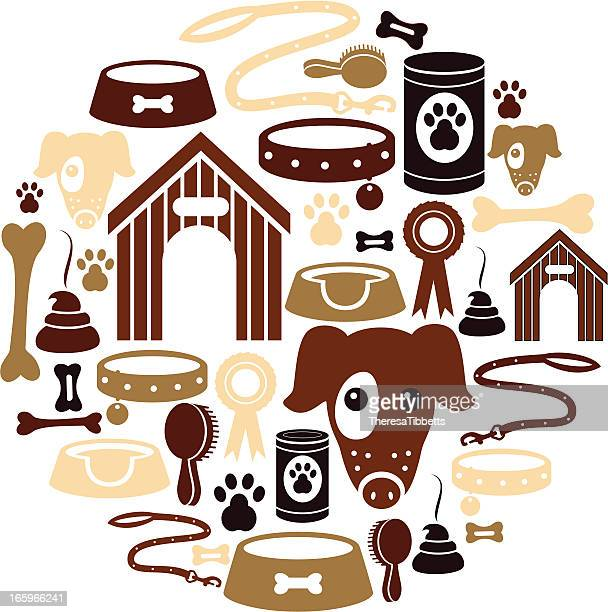 dog icon set - dog leash stock illustrations, clip art, cartoons, & icons