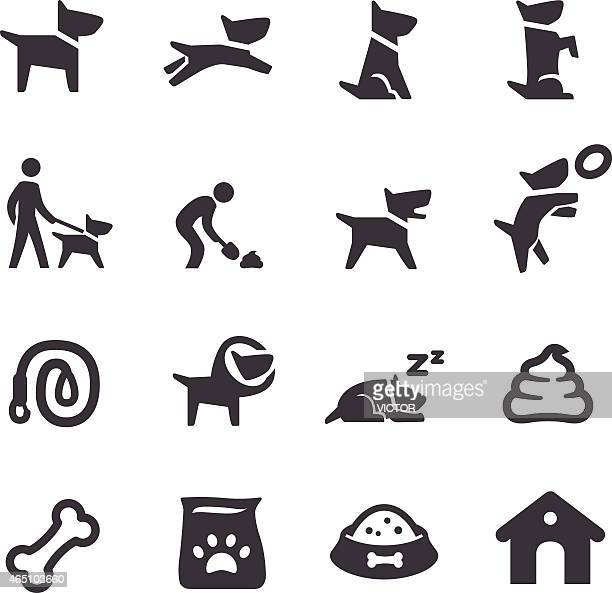 dog icons - acme series - dog leash stock illustrations, clip art, cartoons, & icons