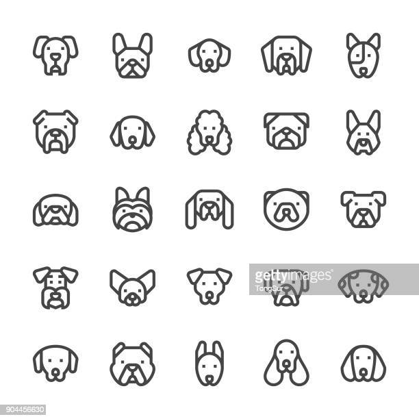 dog icons - mediumx line - dog stock illustrations