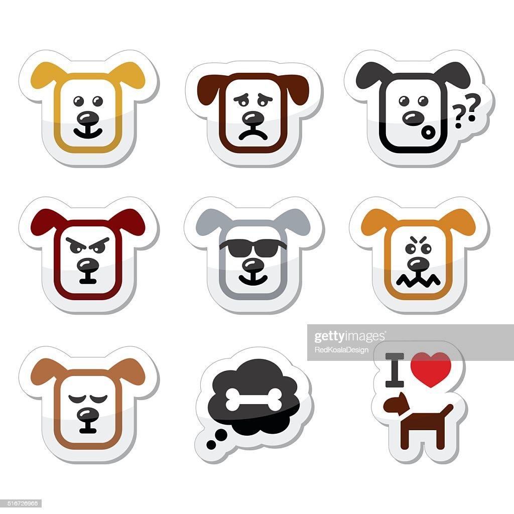 Dog icons set - happy, sad, angry isolated on white