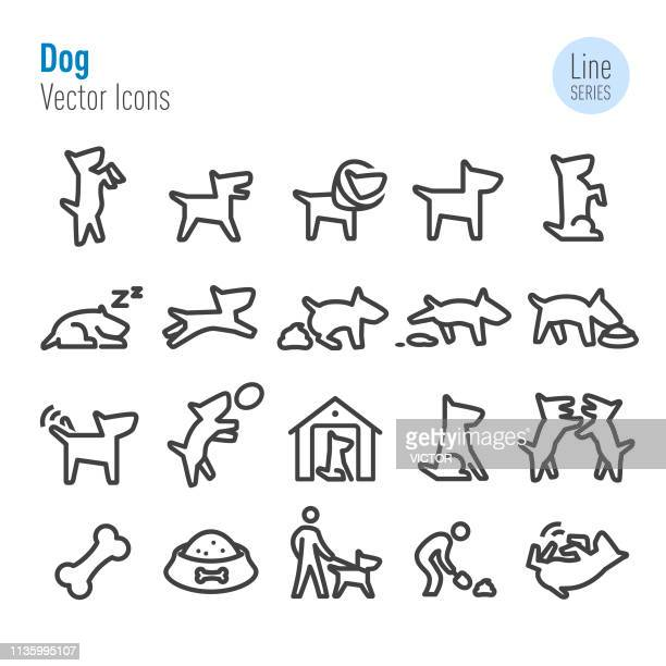 dog icons - vector line series - dog food stock illustrations, clip art, cartoons, & icons