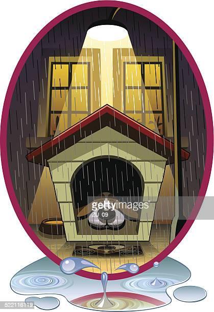 ilustraciones, imágenes clip art, dibujos animados e iconos de stock de rainy la noche - caseta de perro