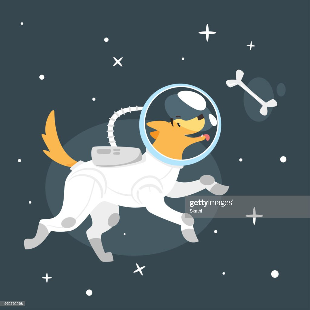dog in space suit : Vector Art