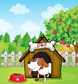 Dog inside doghouse with a dogfood