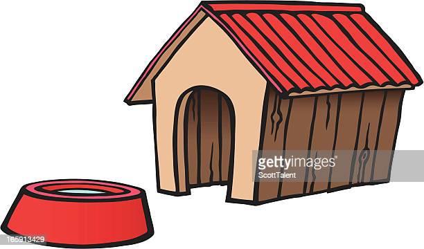 ilustraciones, imágenes clip art, dibujos animados e iconos de stock de perro de una jaula para mascotas. - caseta de perro