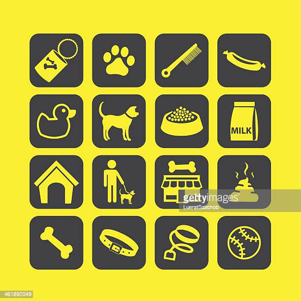dog life icons set 01- illustration - cat food stock illustrations