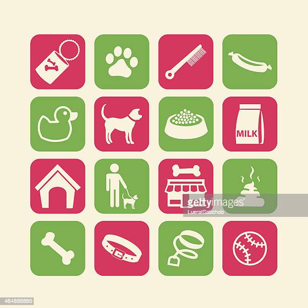 dog life icons set red green - cat food stock illustrations
