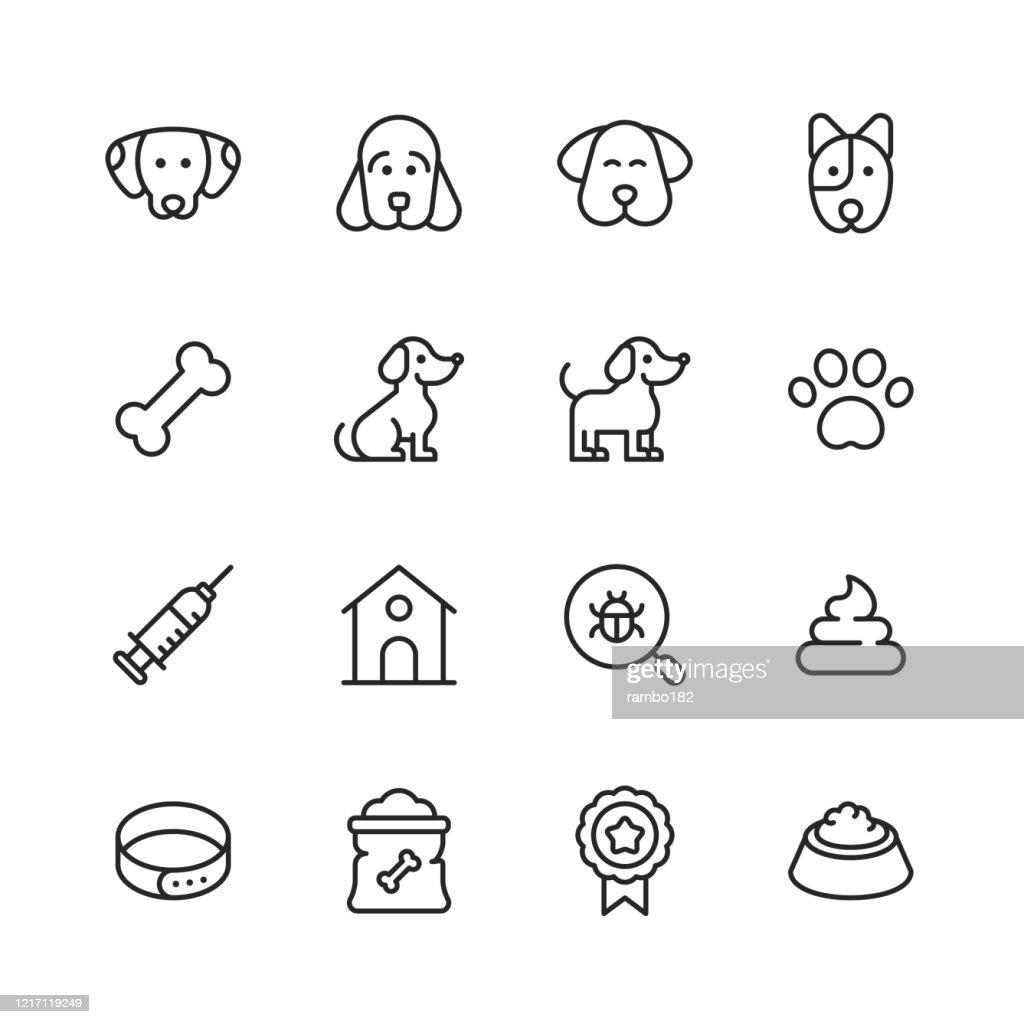 犬のラインアイコン。編集可能なストローク。ピクセルパーフェクト。モバイルとウェブ用。犬、子犬、犬小屋、家畜、犬の骨、注射器、バッジ、犬の足、獣医師、ペットボウル、ドッグフ� : ストックイラストレーション