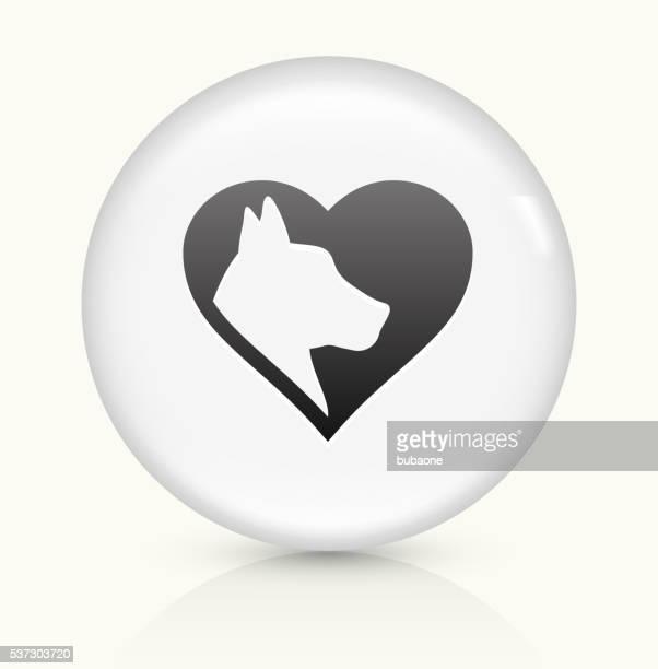 Hund-Liebe Symbol auf einem weißen, runden Vektor-button