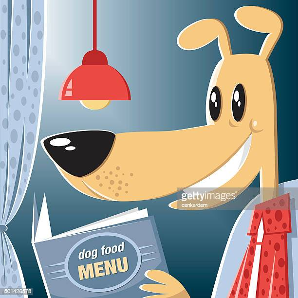 dog ordering the meal - dog eating stock illustrations, clip art, cartoons, & icons