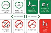 Dog owner sign set. Prohibiting and resolving signs.