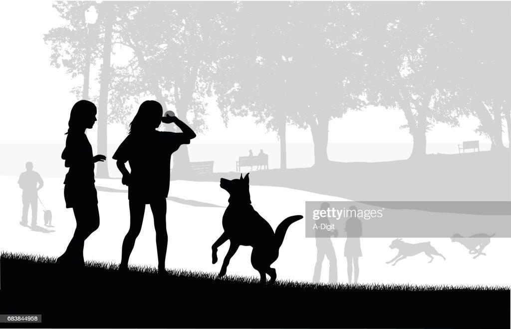 Dog Park Play : stock illustration