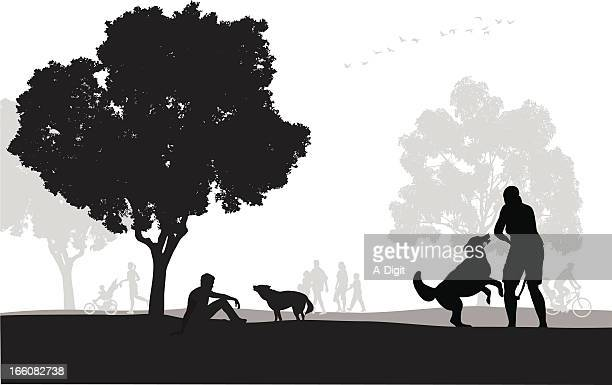 dog park vector silhouette - three wheeled pushchair stock illustrations, clip art, cartoons, & icons
