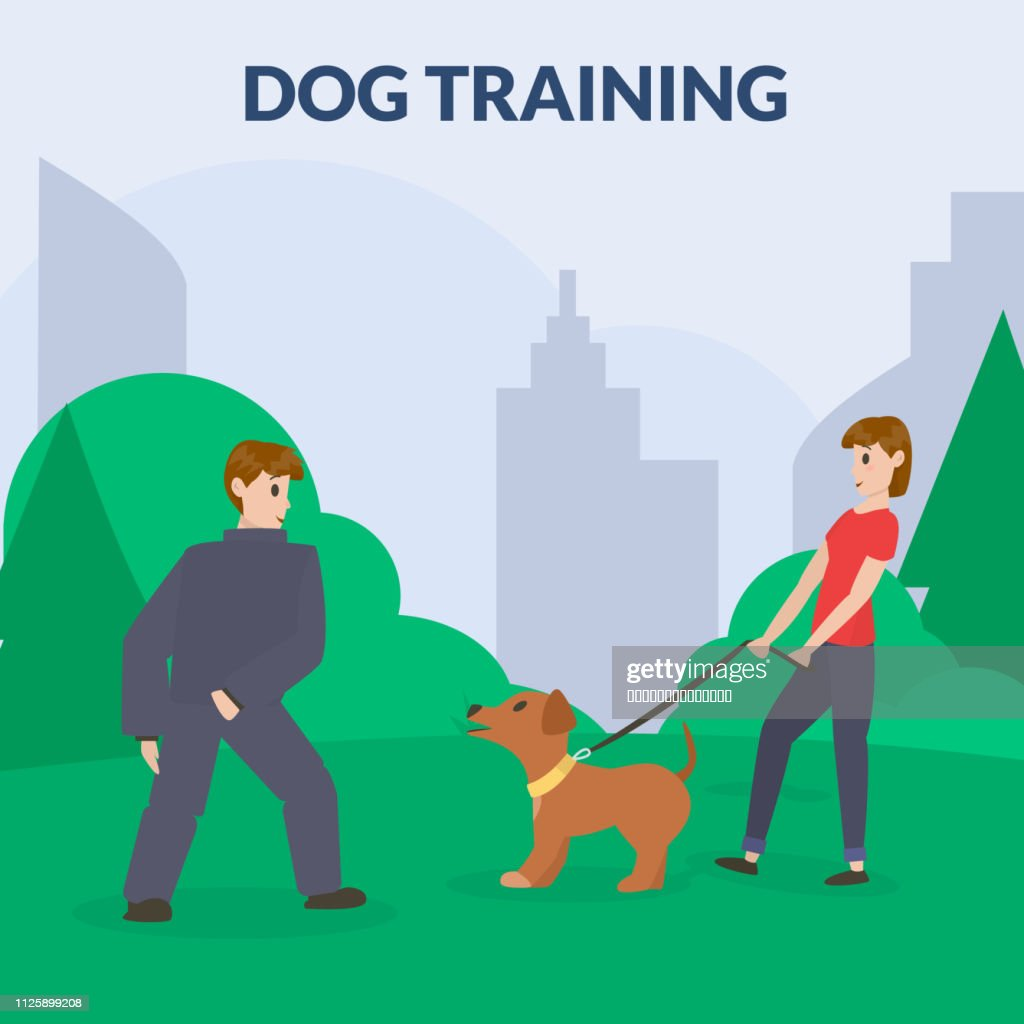 Dog park with sport equipment. A woman training dog. Cynology.Barking dog,attack. Flat vector.