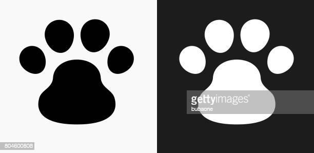 Icône de patte chien sur fond de Vector noir et blanc