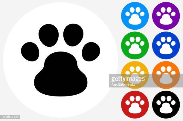 ilustraciones, imágenes clip art, dibujos animados e iconos de stock de dog paw icon on flat color circle buttons - azul marino