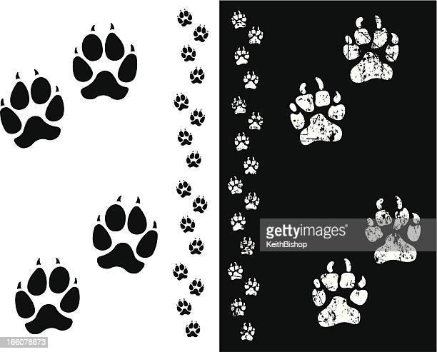 dog paw prints or animal tracks - animal track stock illustrations, clip art, cartoons, & icons