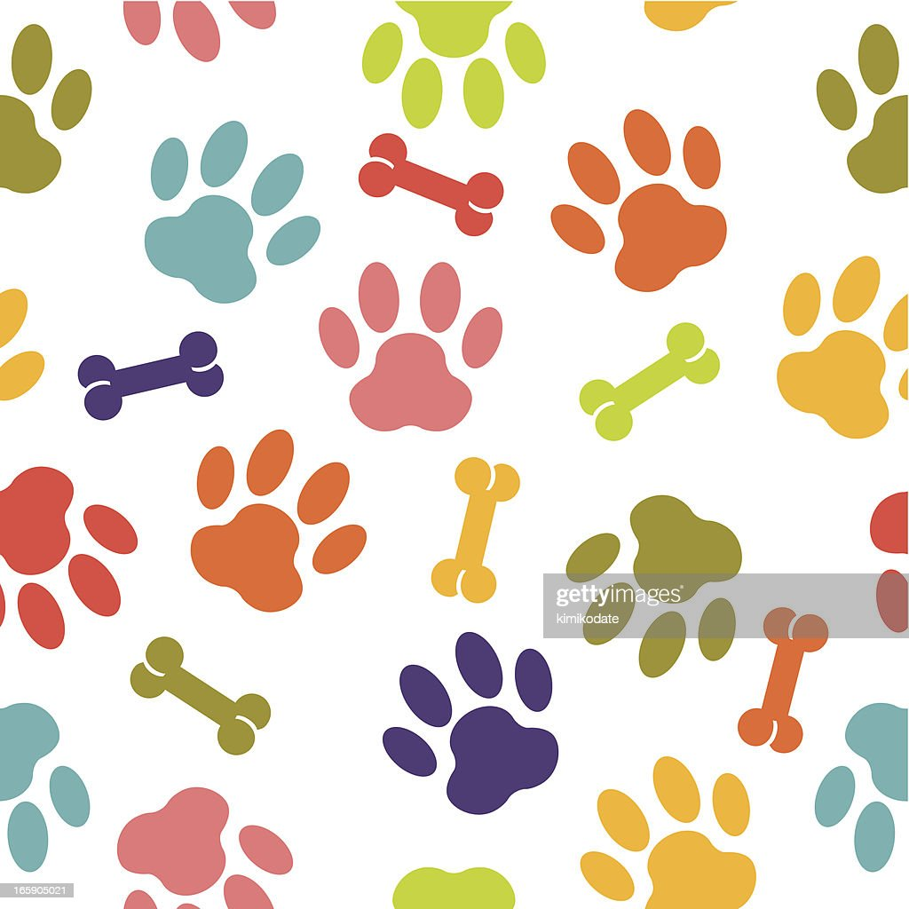Dog paw seamless pattern