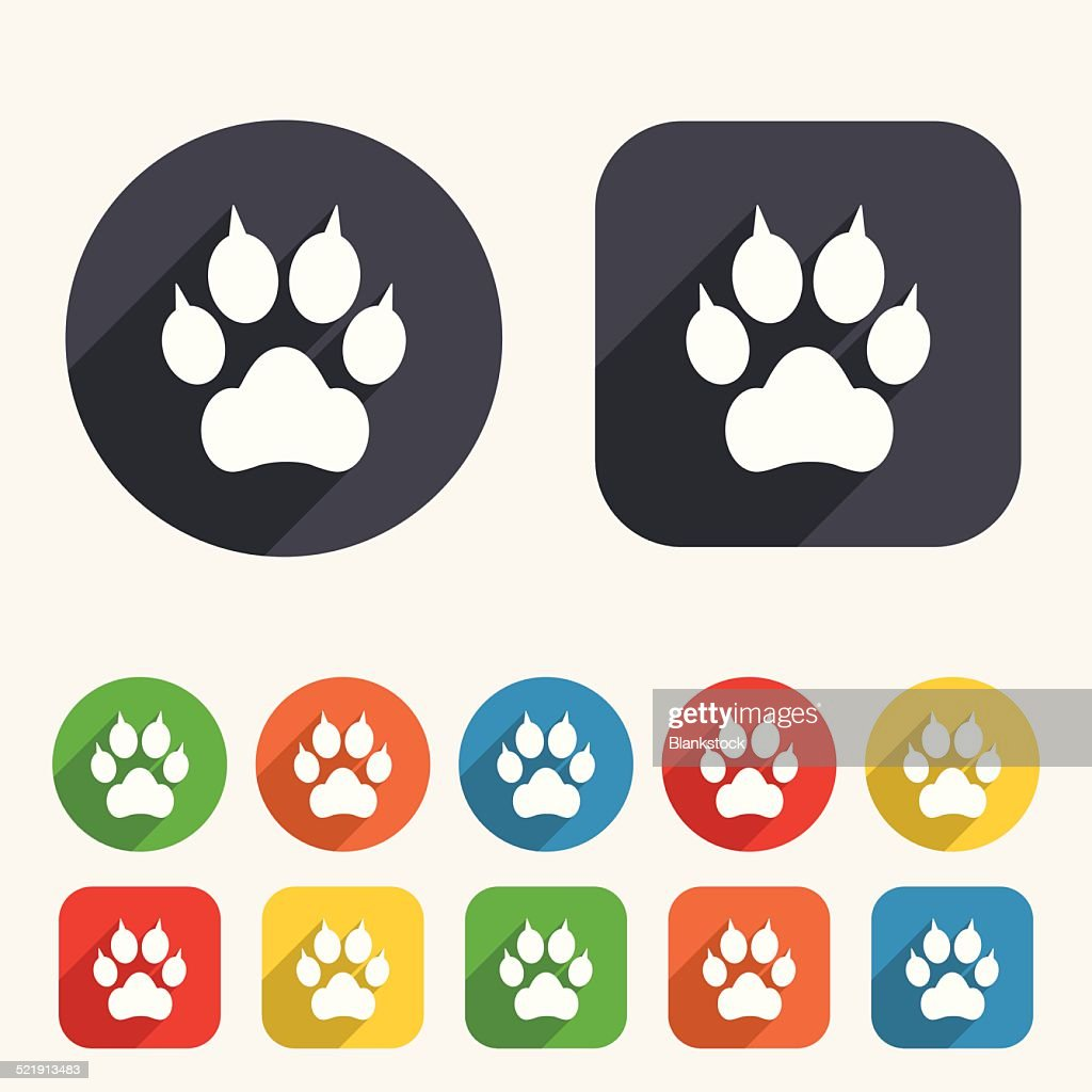 Dog paw with clutches sign icon. Pets symbol.