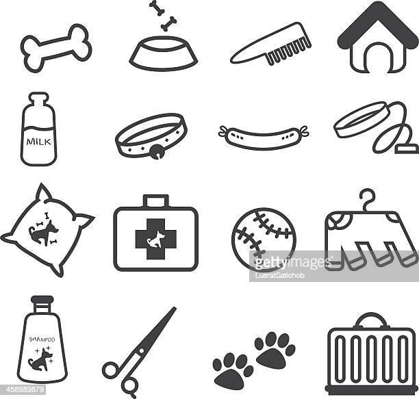 dog pet shop icons set stock illustration - cat food stock illustrations