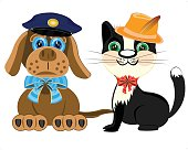 Dog police and cat in hat