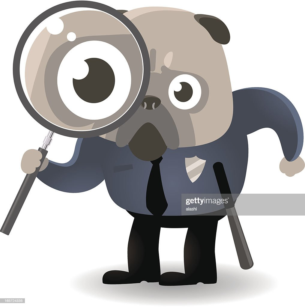 Dog Police Holding A Magnifier