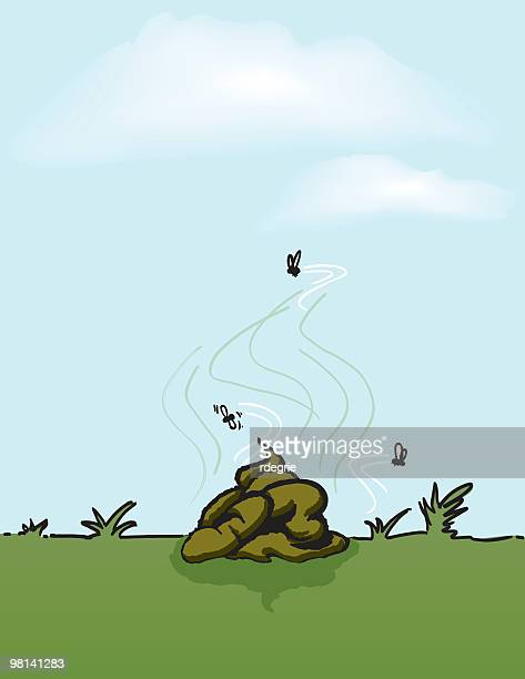 dog poop and flies - manure pile stock illustrations, clip art, cartoons, & icons