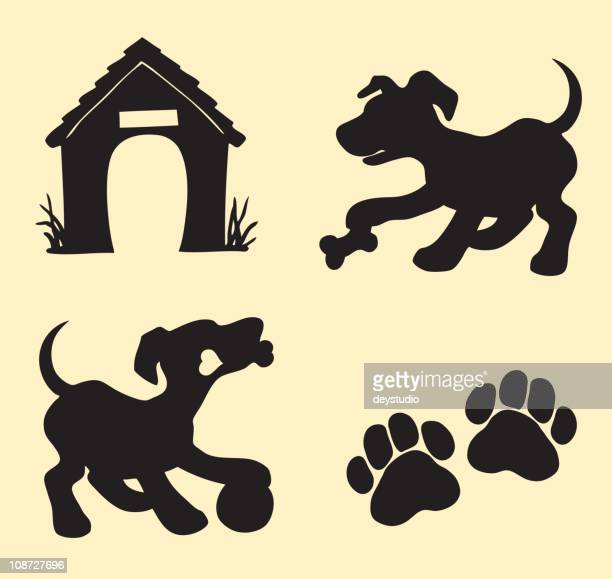 dog, puppy playing - dog toys stock illustrations
