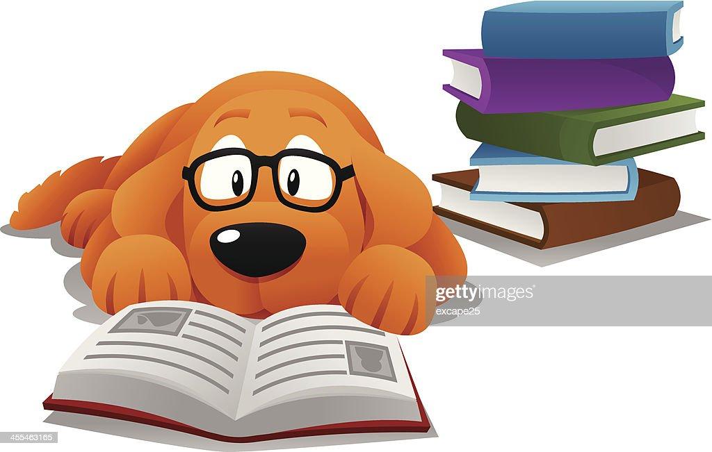 Dog reading : stock illustration