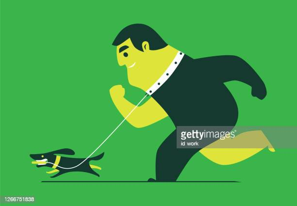 dog running with man - tame stock illustrations