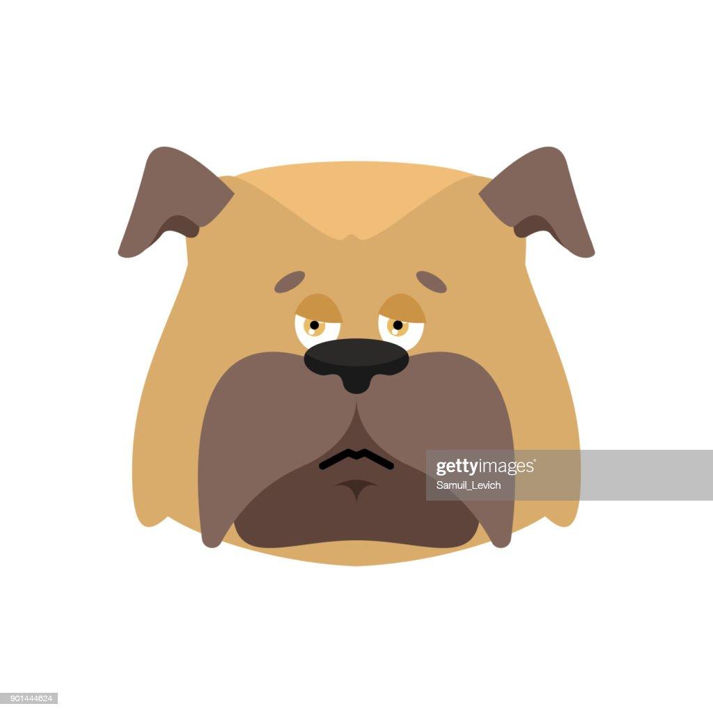 Dog sad emoticon. Pet sorrowful emotions. bulldog dull. Vector illustration