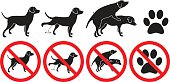 Dog sign vector illustration peeing grooming making love and pawprint