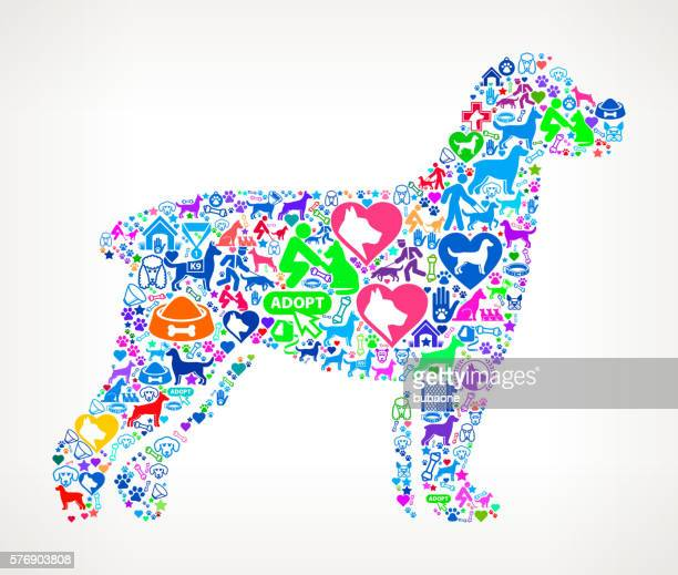 dog silhouette dog and canine pet colorful icon pattern - golden retriever stock illustrations, clip art, cartoons, & icons
