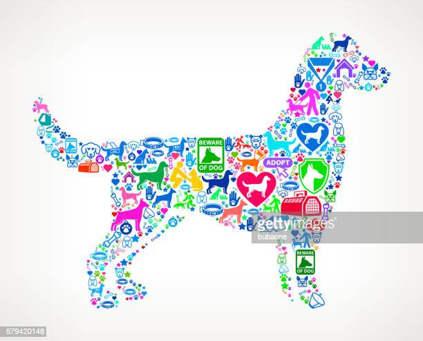 dog silhouette dog and canine pet colorful icon pattern - dog show stock illustrations