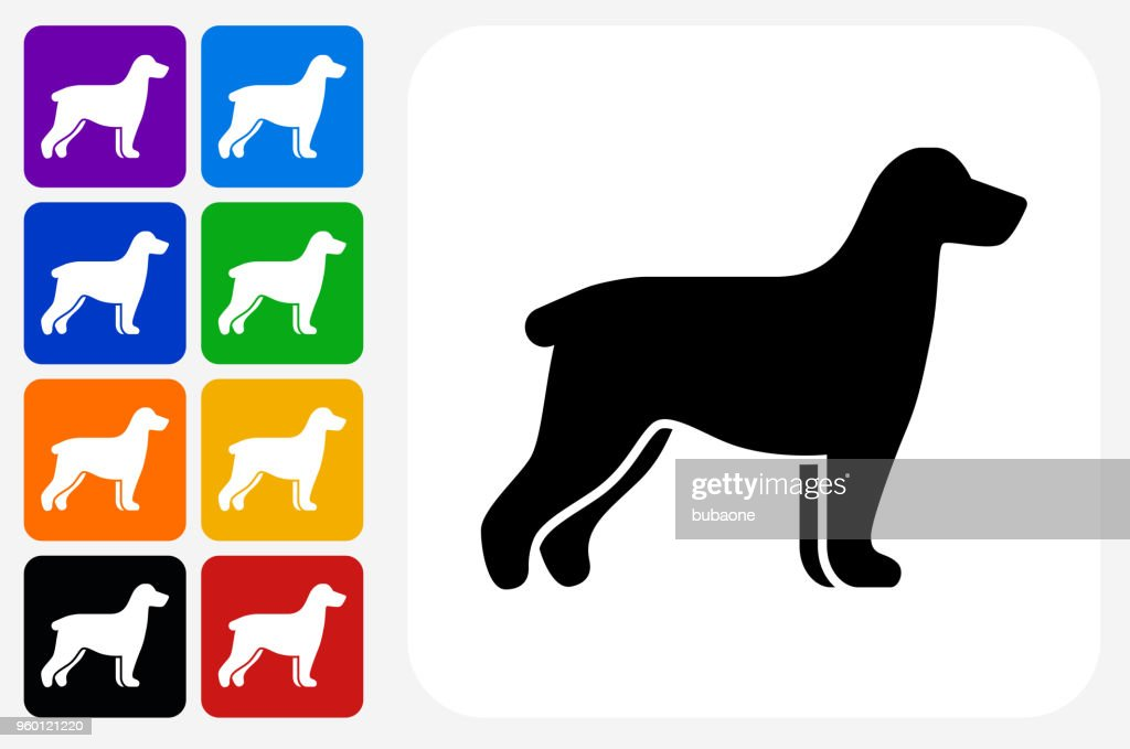 Hund Silhouette Symbol Square Buttonset : Stock-Illustration