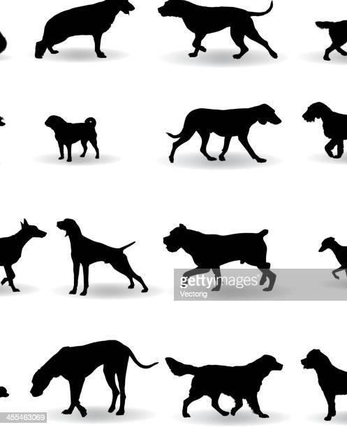 犬のシルエット - 猟犬点のイラスト素材/クリップアート素材/マンガ素材/アイコン素材