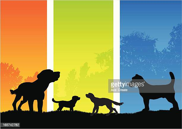 dog silhouettes in the country - dawn bess stock illustrations